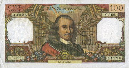 7.10.1965 BANKNOTEN DER BANQUE DE FRANCE Banque de France. Billet. 100 francs, Corneille, 7.10.1965 s-ss