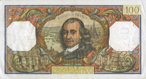 7.10.1965 BANKNOTEN DER BANQUE DE FRANCE Banque de France. Billet. 100 francs, Corneille, 7.10.1965 ss+