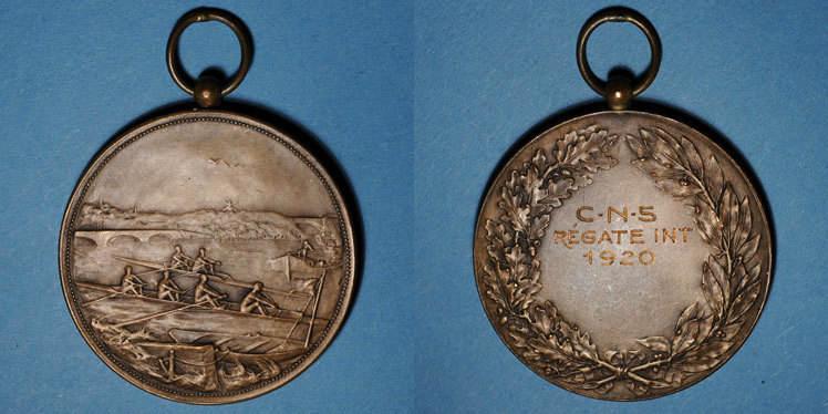 1920 ELSAß Alsace. Cercle nautique de Strasbourg. 1920. Médaille bronze ss-vz