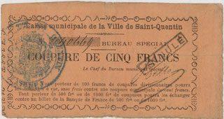 FRANZÖSISCHE NOTSCHEINE Saint Quentin (02). Caisse municipale de la ville. Billet. 5 francs n. d., ANNULE s-ss