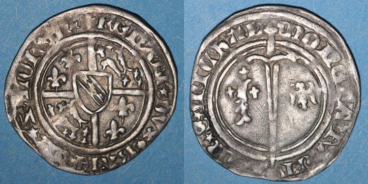 1419-1480 LOTHRINGEN Lorraine. Duché de Bar. René I (1419-1480). Demi-gros. Saint-Mihiel Petites faiblesses de frappe dans les légendes sinon ss
