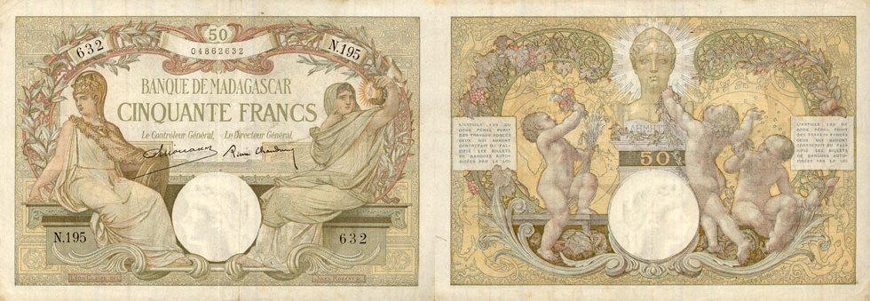1926 EHEMALIGE FRANZÖSISCHE KOLONIEN Madagascar. Billet. 50 francs type 1926, n. d. Très petites taches sinon ss+