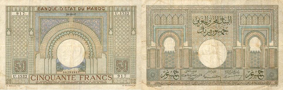 1947-10-28 EHEMALIGE FRANZÖSISCHE KOLONIEN Banque d'Etat du Maroc. Billet. 50 francs 28.10.1947 s