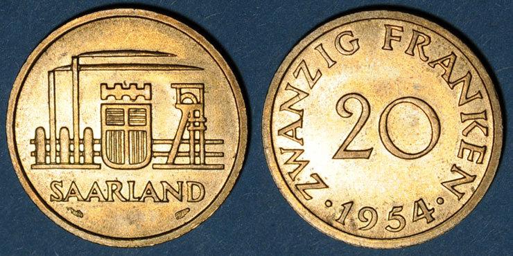 1954 EUROPA Sarre. Département français (1945-1957). 20 franken 1954 vz