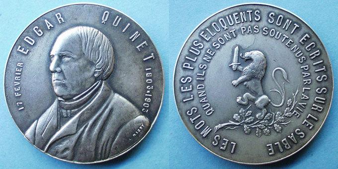 1903 MEDAILLEN Edgar Quinet. Centenaire de sa naissance. 1903. Médaille bronze argenté 39,8 mm. Gravée par L. Micot vz / ss-vz