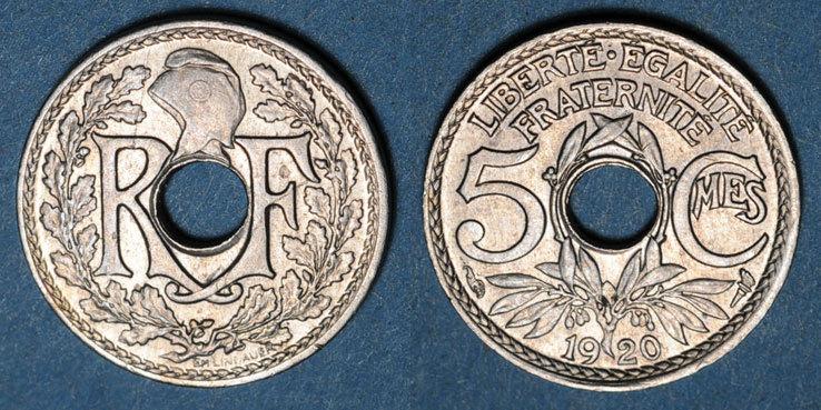 1920 FRANZÖSISCHE MODERNE MÜNZEN 3e république (1870-1940). 5 centimes Lindauer, petit module 1920 ss-vz