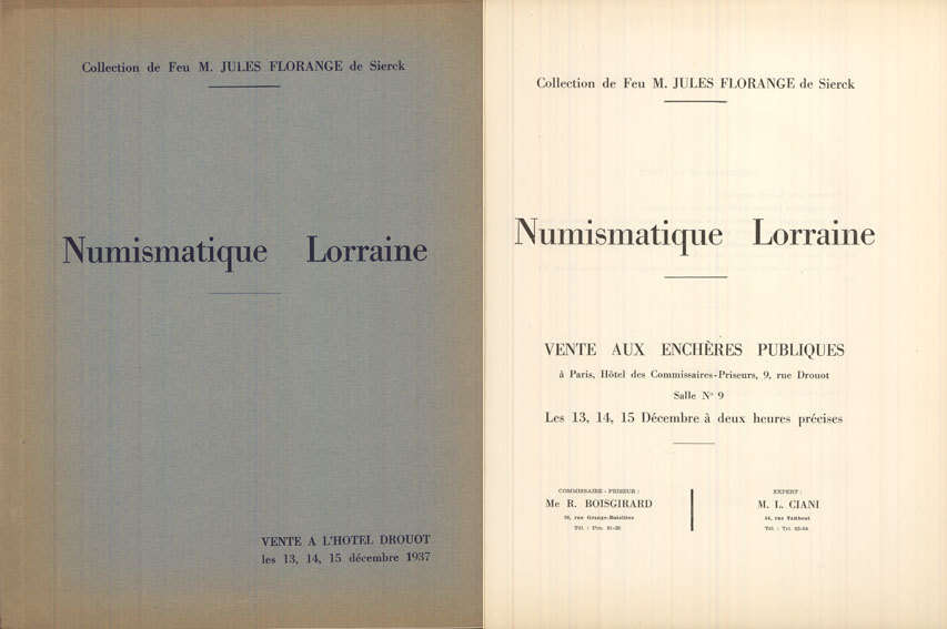 13-15 n. Chr. NUMISMATIKBÜCHER Ciani, vente aux enchères 13-15.12.1937. Collection de Feu M. Jules Florange de Sierck Trés bon état.