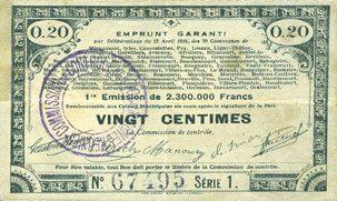 23.4.1915 FRANZÖSISCHE NOTSCHEINE Pas de Calais, Somme et Nord, Groupement de 70 communes. Billet. 20 centimes 23.4.1915 série 1 ss / s+