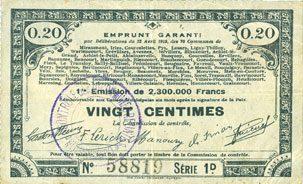 23.4.1915 FRANZÖSISCHE NOTSCHEINE Pas de Calais, Somme et Nord, Groupement de 70 communes. Billet. 20 centimes 23.4.1915 série 1D ss