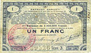 23.4.1915 FRANZÖSISCHE NOTSCHEINE Pas de Calais, Somme et Nord, Groupement de 70 communes. Billet. 1 franc 23.4.1915 série 3 s+