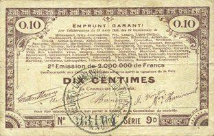 23.4.1915 FRANZÖSISCHE NOTSCHEINE Pas de Calais, Somme et Nord, Groupement de 70 communes. Billet. 10 centimes 23.4.1915 série 9D s