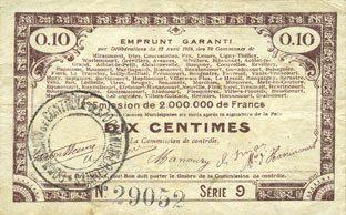 23.4.1915 FRANZÖSISCHE NOTSCHEINE Pas de Calais, Somme et Nord, Groupement de 70 communes. Billet. 10 centimes 23.4.1915 série 9 s+
