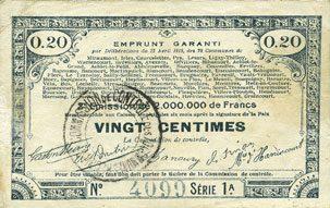 23.4.1915 FRANZÖSISCHE NOTSCHEINE Pas de Calais, Somme et Nord, Groupement de 70 communes. Billet. 20 centimes 23.4.1915 série 1A s