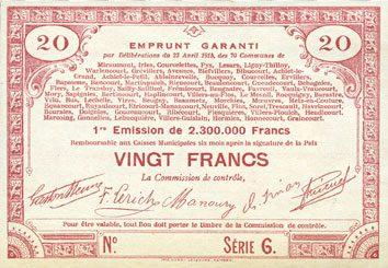 23.4.1915 FRANZÖSISCHE NOTSCHEINE Pas de Calais, Somme et Nord, Groupement de 70 communes. Billet. 20 francs 23.4.1915 série 6 Papier légèrement jaune. I