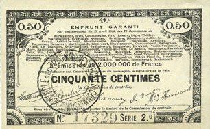 23.4.1915 FRANZÖSISCHE NOTSCHEINE Pas de Calais, Somme et Nord, Groupement de 70 communes. Billet. 50 centimes 23.4.1915 série 2D vz+