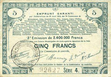 23.4.1915 FRANZÖSISCHE NOTSCHEINE Pas de Calais, Somme et Nord, Groupement de 70 communes. Billet. 5 francs 23.4.1915 série 4 ss
