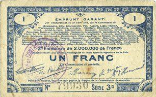23.4.1915 FRANZÖSISCHE NOTSCHEINE Pas de Calais, Somme et Nord, Groupement de 70 communes. Billet. 1 franc 23.4.1915 série 3D s+