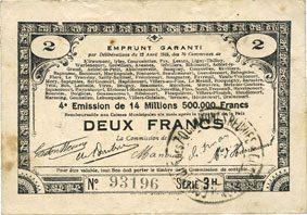 23.4.1915 FRANZÖSISCHE NOTSCHEINE Pas de Calais, Somme et Nord, Groupement de 70 communes. Billet. 2 francs 23.4.1915 série 3H Taché, ss
