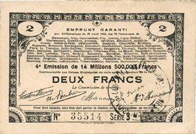 23.4.1915 FRANZÖSISCHE NOTSCHEINE Pas de Calais, Somme et Nord, Groupement de 70 communes. Billet. 2 francs 23.4.1915 série 3A vz