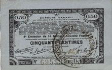 23.4.1915 FRANZÖSISCHE NOTSCHEINE Pas de Calais, Somme et Nord, Groupement de 70 communes. Billet. 50 centimes 23.4.1915 série 1L vz
