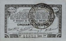 23.4.1915 FRANZÖSISCHE NOTSCHEINE Pas de Calais, Somme et Nord, Groupement de 70 communes. Billet. 50 centimes 23.4.1915 série 1m I