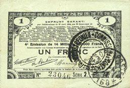 23.4.1915 FRANZÖSISCHE NOTSCHEINE Pas de Calais, Somme et Nord, Groupement de 70 communes. Billet. 1 franc 23.4.1915 série 2I ss