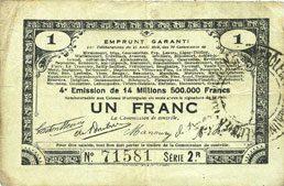 23.4.1915 FRANZÖSISCHE NOTSCHEINE Pas de Calais, Somme et Nord, Groupement de 70 communes. Billet. 1 franc 23.4.1915 série 2R s+