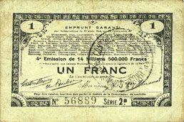 23.4.1915 FRANZÖSISCHE NOTSCHEINE Pas de Calais, Somme et Nord, Groupement de 70 communes. Billet. 1 franc 23.4.1915 série 2B s