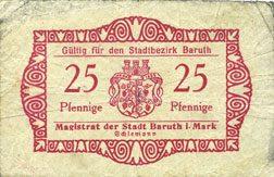 DEUTSCHLAND - NOTGELDSCHEINE (1914-1923) A - J Baruth. Stadt. Billet. 25 pfennig n.d. sge