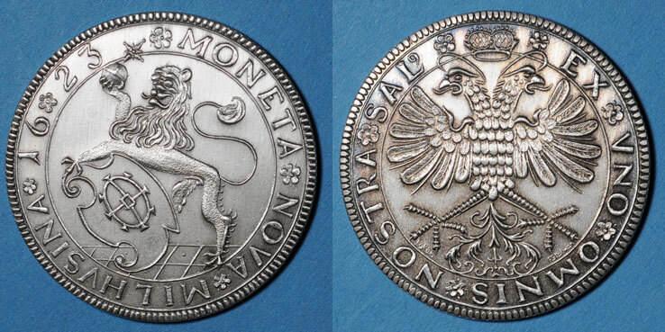 1987 ELSAß Alsace. Mulhouse. 20e anniversaire du Cercle Numismatique. 1987. Médaille en argent. 40 mm vz
