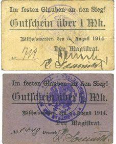 5.8.1914 DEUTSCHLAND - NOTGELDSCHEINE (1914-1923) A - J Bischofswerder (Biskupiec, Pologne). Stadt. Billets. 1 mk 5.8.1914 ; 1/2 mk 8.8.1914 2 billets, ss