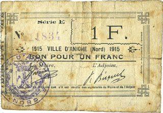 1915 FRANZÖSISCHE NOTSCHEINE Aniche (59). Ville. Billet. 1 franc 1915, série E sge