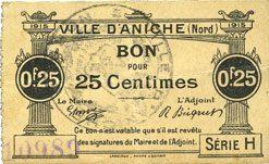 1915 FRANZÖSISCHE NOTSCHEINE Aniche (59). Ville. Billet. 25 cmes 1915, série H vz / ss