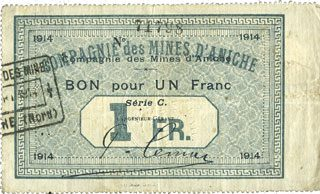 1914 FRANZÖSISCHE NOTSCHEINE Aniche (59). Compagnie des mines d'Aniche. Billet. 1 franc 1914, série C ss