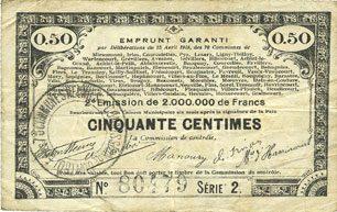 23.4.1915 FRANZÖSISCHE NOTSCHEINE Pas de Calais, Somme et Nord, Groupement de 70 communes. Billet. 50 centimes 23.4.1915 série 2 s+ / s