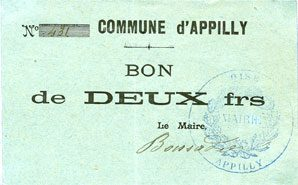 FRANZÖSISCHE NOTSCHEINE Appilly (60). Commune. Billet. 2 francs n. d. vz