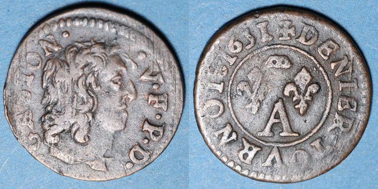 1627-50 ANDERE FEUDALE MÜNZEN Principauté de Dombes. Gaston d'Orléans (1627-50), denier tournois 1651 ss