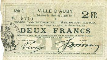 5.12.1914 FRANZÖSISCHE NOTSCHEINE Auby (59). Ville. Billet. 2 francs 5.12.1914 ss / s