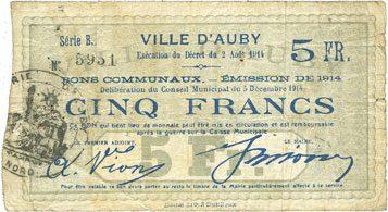 5.12.1914 FRANZÖSISCHE NOTSCHEINE Auby (59). Ville. Billet. 5 francs 5.12.1914 s