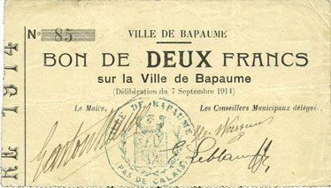 7.9.1914 FRANZÖSISCHE NOTSCHEINE Bapaume (62). Ville. Billet. 2 francs 7.9.1914 ss