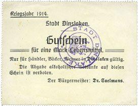 1914 DEUTSCHLAND - NOTGELDSCHEINE (1914-1923) A - J Dinslaken. Stadt. Billet. 1 mark (Lebensmittel) (novembre) 1914 vz