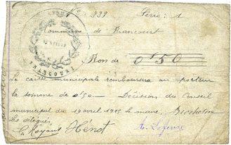 19.4.1915 FRANZÖSISCHE NOTSCHEINE Brancourt (02). Commune. Bon de 50 centimes 19.4.1915 s+ / s