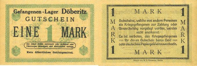 DEUTSCHLAND - KRIEGSGEFANGENENLAGER (1914-1918) Allemagne. Döberitz. Gefangenenlager. Billet. 1 mark n.d. I