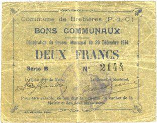 1914-12-20 FRANZÖSISCHE NOTSCHEINE Brebières (62). Commune. Billet. 2 francs 20.12.1914, série B ss