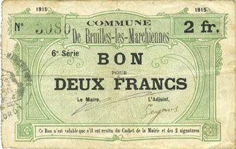1915 FRANZÖSISCHE NOTSCHEINE Bruille-lez-Marchiennes (59). Ville. Billet. 2 francs 1915, 6e série s+