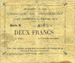 1914 FRANZÖSISCHE NOTSCHEINE Brunemont (59). Commune. Billet. 2 francs 1914, série B s+