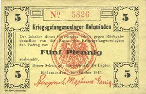 octobre 1915 DEUTSCHLAND - KRIEGSGEFANGENENLAGER (1914-1918) Allemagne. Holzminden. Kriegsgefangenenlager. Billet. 5 pfennig octobre 1915 ss+