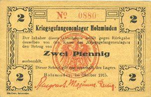 octobre 1915 DEUTSCHLAND - KRIEGSGEFANGENENLAGER (1914-1918) Allemagne. Holzminden. Kriegsgefangenenlager. Billet. 2 pfennig octobre 1915 vz