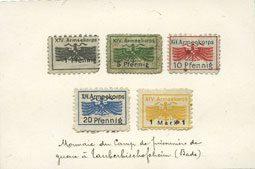 DEUTSCHLAND - KRIEGSGEFANGENENLAGER (1914-1918) Allemagne. Karlsruhe. XIV. Armeekorps. Scheckmarken. Billets. 1, 5, 10, 20 pf, 1 mark n.d. 5 billets, TB (1ex), TTB (2ex), vz (2ex)