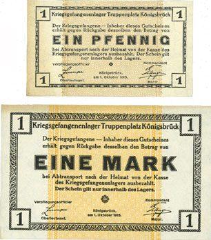 1915 DEUTSCHLAND - KRIEGSGEFANGENENLAGER (1914-1918) Allemagne. Königsbrück. Kriegsgefangenenlager - Truppenplatz Königsbrück. Billets. 1 pf, 1 mk 1915 2 billets, traces de jaunissement sinon neuf